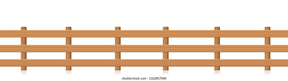 Pasture fence, seamless extendable, wooden textured. Isolated vector illustration on white background.