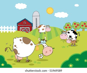 Pasture Of Grazing Dairy Cows Near A Barn And Silo