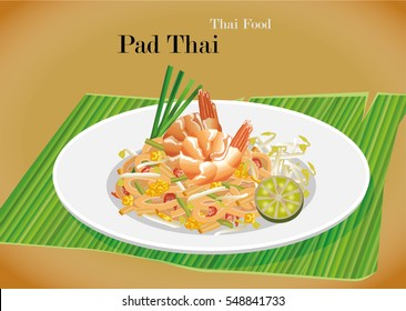 Pat Thai stir-fried rice noodle local Thailand food