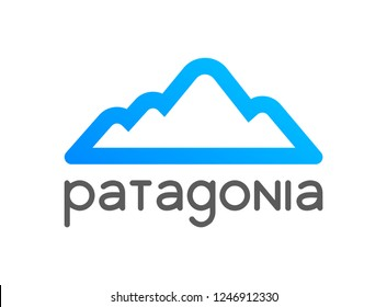 Patagonia logo emblem for tour decoration. Vector illustration of travel to Chile, Peru and Argentina.