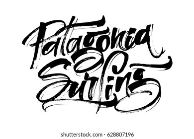 Patagonia Surfing. Modern Calligraphy Hand Lettering for Silk Screen Print