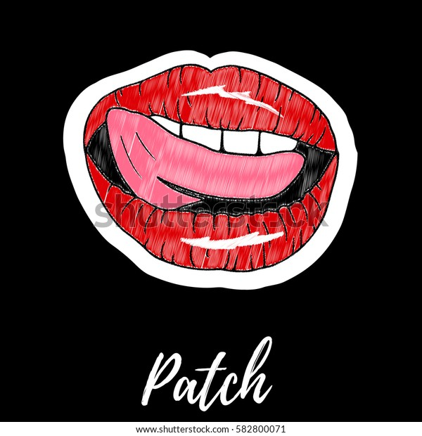 Patch, badge, embroidery with lips.Retro pop art style.Collection of stickers and patches in cartoon 80s-90s style.