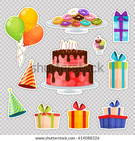 Patch Badges With Birthday Cake Balloons Gift Box Hats Ice Cream
