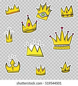 Patch Badges with Crowns. Vector illustration isolated on transparent background. Set Pack of stickers, pins, patches in cartoon 80's - 90's comic style.