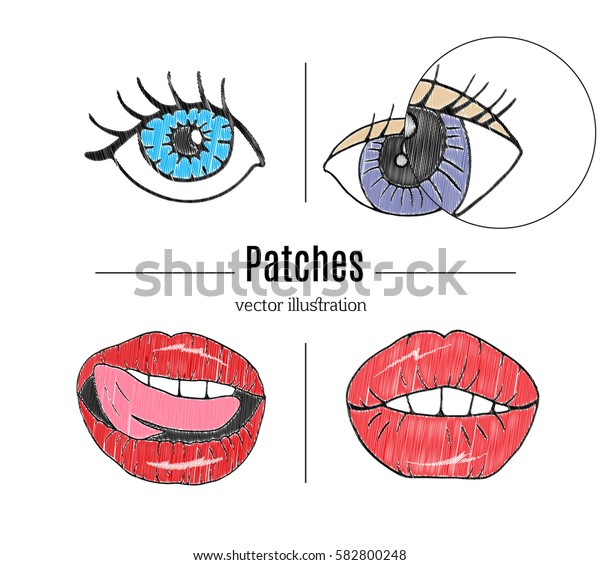 Patch badges, embroidery with lips,eyes.Retro pop art style.Collection of stickers and patches in cartoon 80s-90s style.