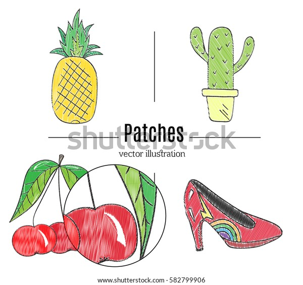 Patch badges, embroidery with pineapple,cherry, shoes, cactus.Retro pop art style.Collection of stickers and patches in cartoon 80s-90s style.