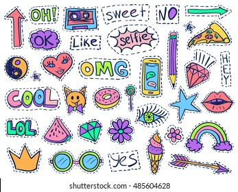Patch badges set. Doodle sketch vector. Comic stickers with words, lips, rainbow, ice cream, hearts, glasses, arrow and diamonds. Social media funny badges. College fashionable pins.