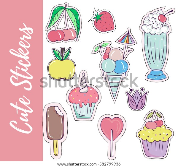 Patch, badges, stickers with flower,apple,ice cream,cup cake,cherry,lollipop,strawberry,milk shake.Cute retro style.Vector illustration isolated on white background.