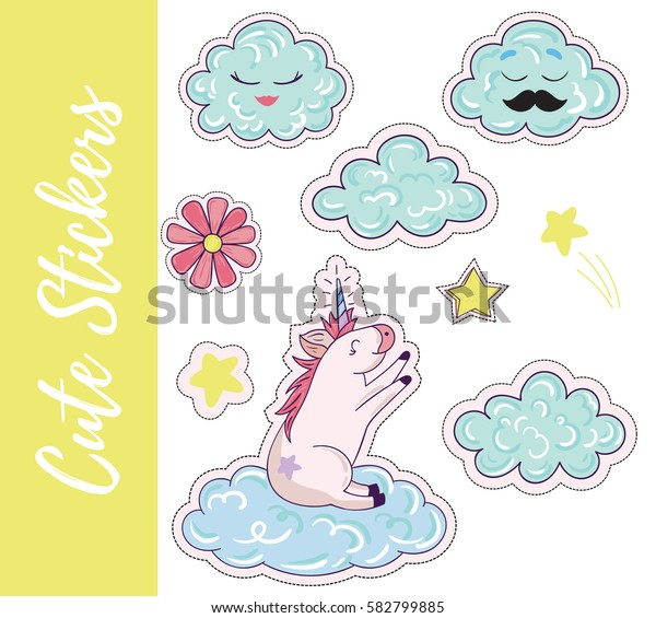 Patch, badges, stickers with flower,cloud,star,unicorn.Cute retro style.Vector illustration isolated on white background.