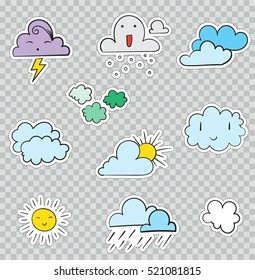 Patch Badges with Weather Conditions and Clouds. Vector illustration isolated on transparent background. Set Pack of stickers, pins, patches in cartoon 80's - 90's comic style.