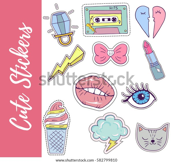 Patch, badges,stickers with lips,eyes, cat,ice cream,ring,hearts,lipstick,tape. Retro pop art style.Collection of stickers and patches in cartoon 80s-90s style.