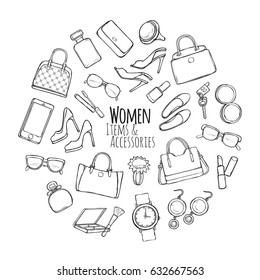 Patch of fashion accessories. Colourless. Woman items and accessories. Collection of bags, shoes, high heels, sun glasses, phones, car keys, watch and cosmetics in circle. Cartoon style. Vector
