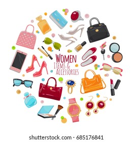 Patch of fashion accessories. Woman items and accessories