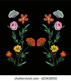 patch flowers embroidery for apparel