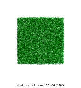 Patch of grass in form of square. Isolated on white background. Vector illustration. Pointillism style.