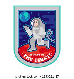 Patch icon sticker pin first landing human on planet mars from earth free space between stars. Space colonization discover mission. Vintage print t shirt poster illustration cartoon character design.