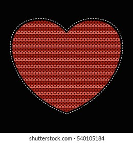 Patch of a knitted heart. Wicker pattern. Flat vector cartoon illustration. Objects isolated on a white background.