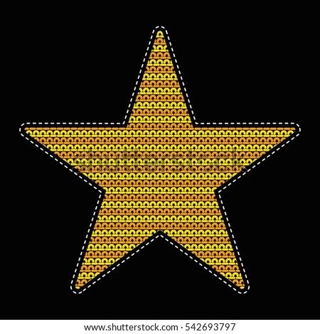 Patch Knitted Star Wicker Pattern Flat Stock Vector Royalty Free