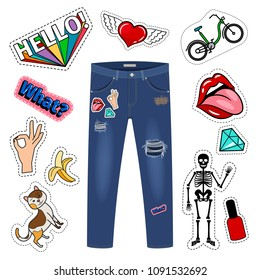 Patch on blue jeans. Fashion girl denim apparel patch set vector illustration on white