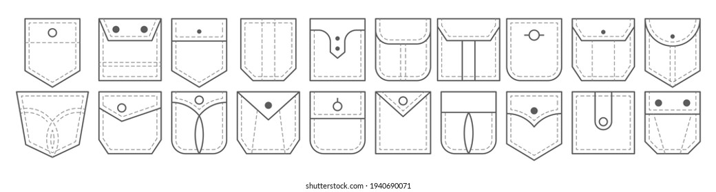 Patch pocket. Set of outline bag vector icons. Uniform casual style denim pockets patches. Jean shirt clothes isolated icon.