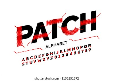 Patched font stitched with thread, embroidery font alphabet letters and numbers vector illustration