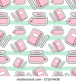 Patches fashion girl pattern vector seamless on white background with mint green stripes. Cute print for preschool, teen or student girls.