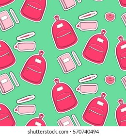 Patches fashion school girl pattern vector seamless with backpack, pencil case, pens and notebooks on green background. Cute print for preschool, teen or student girls.