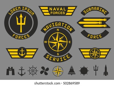 Patches and icons on the marine theme