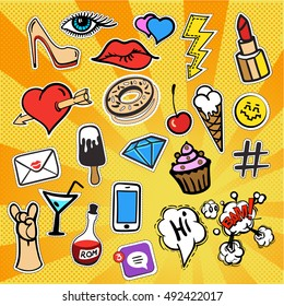 Patches and stickers collection, hand drawn fashion kit. Doodle pop art vector style,heart,mail,cloud,lips,diamond,eyes,cocktail glasses, ice cream, cake, telephone and miscellaneous items. 80s, 90s