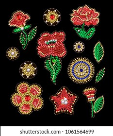 Patches for textile design or print with flowers, embroidered sequins, beads and pearls. Vector fashion illustrations.