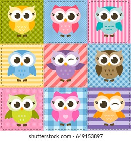 patchwork background with colorful funny owls