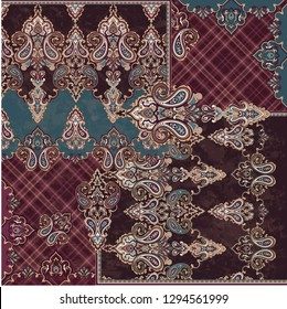 patchwork classic beautiful print with paisley elements. can be used as a pattern for fabric or textile