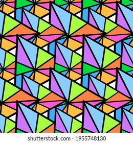 patchwork color triangle seamless pattern textile print. Great for summer vintage fabric, scrapbooking, wallpaper, giftwrap. repeat pattern background design