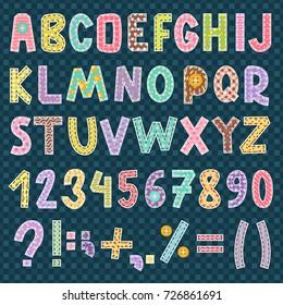 Patchwork fabric cloth material textile alphabet font letters symbol style decoration vector illustration