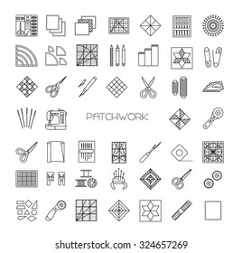 Patchwork  line icons set. Quilting supplies and accessories. Quilt fabric kit, patch, needle, thread, scissors, cloth, sewing machine, pin, template, ruler, rotary cutter. Vector illustration.