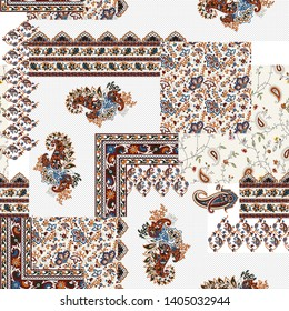 Patchwork paisley and border pattern