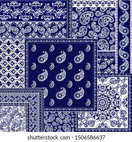 Patchwork paisley and border pattern.  Floral wallpaper. Decorative ornament for fabric, textile, wrapping paper. Indigo  paisley pattern.