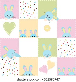 Patchwork with rabbit. Baby seamless background