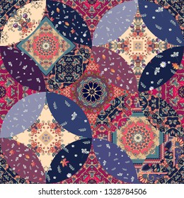 Patchwork seamless pattern with decorative mandala and floral patches. Print for fabric and textile with ethnic motifs.