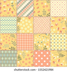 Patchwork seamless pattern with floral and geometric ornaments in warm pastel tones. Beautiful print for fabric.