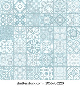 Patchwork seamless pattern, ornate portuguese decorative tiles azulejos. Abstract patchwork background. Vector hand drawn illustration, typical portuguese tiles, Ceramic tiles. Set of mandalas.