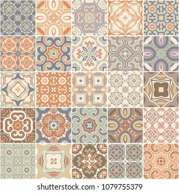 Patchwork seamless pattern. portuguese color tiles azulejos. Abstract background. Vector hand drawn illustration.