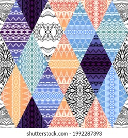 Patchwork seamless pattern from rhombus patches with tracery ornaments. Ethnic motifs.