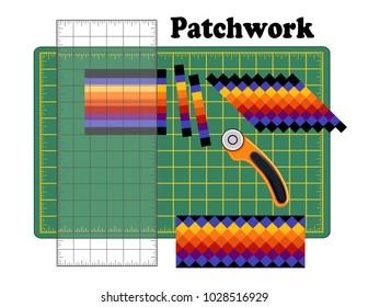 Patchwork, sew narrow bands of fabric together lengthwise, cut into strips, reorganize strips into patterns and designs with quilters ruler, rotary blade cutter on cutting mat for arts, crafts, sewing