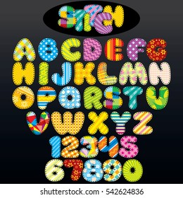 Patchwork Stitch Font. Vector Design Alphabet from Various Colored Textile Patches
