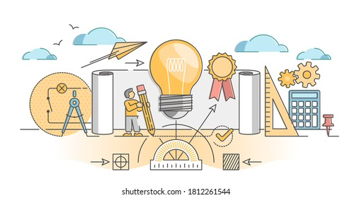 Patent for author copyright and protection from plagiarism outline concept. Legal rights for new invention intellectual property ownership vector illustration. Product exclusive usage license law.