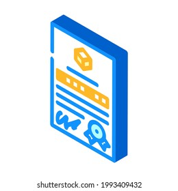 patent document for production isometric icon vector.  isolated symbol illustration