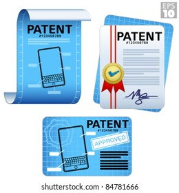 Patent documents, approved legal certificates, blueprints, paper scroll icons