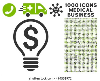 Patent icon with 1000 medical business eco green and gray vector design elements. Set style is flat bicolor symbols, white background.