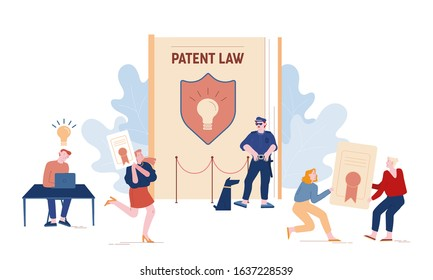 Patent Law Concept. People Authors Create Mental Products and Protecting their Rights for Authorship. Safeguard with Dog Stand near Huge Book with Shield and Lamp Icon Cartoon Flat Vector Illustration
